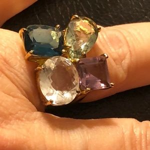 18k gold over sterling silver precious stones ring